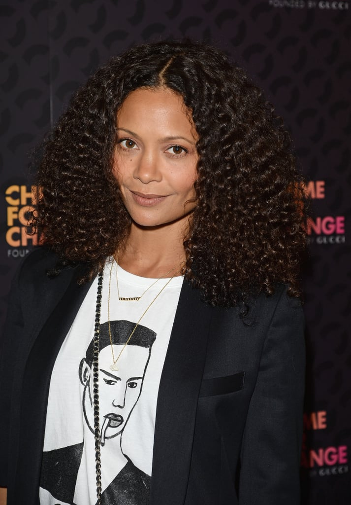 Thandie Newton's natural hair texture was the star of her look at the Chime  For Change concert, and makeup — what makeup?