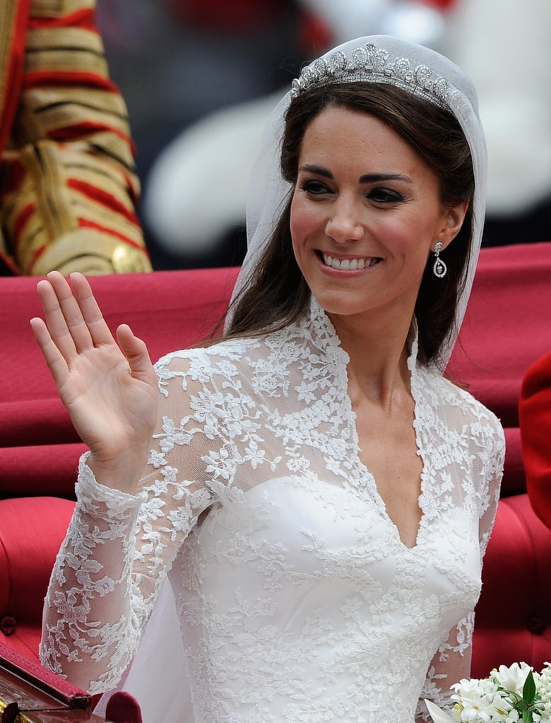 On her wedding day in 2011, Kate's gorgeous blow dry was nestled under a delicate crown and long veil.