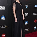Alice Eve wore a slinky black dress.