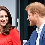 Kate and Harry chatted as they made their way to the official opening of England's Global Academy in April 2017.