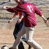 The brothers played soccer with a group of kids in Lesotho in June 2010.