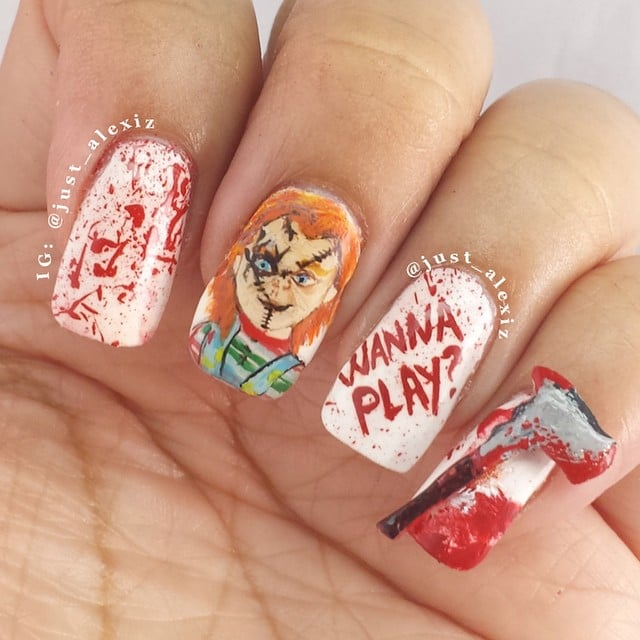 Chucky Horror Movie Nail Art Inspiration Popsugar Beauty Photo 14