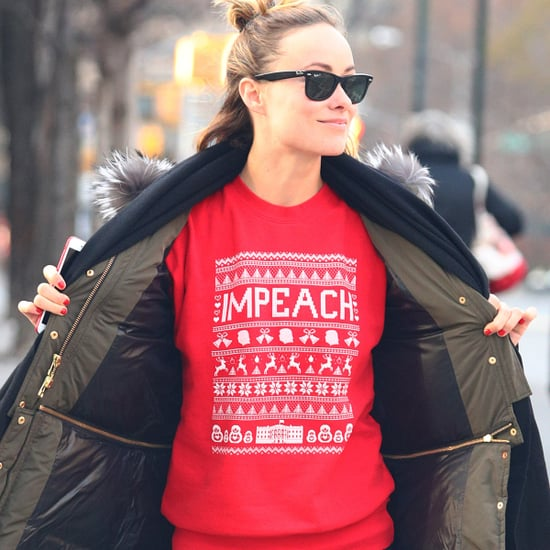 "Olivia Wilde Wearing ""Impeach"" Holiday Sweater 2017"
