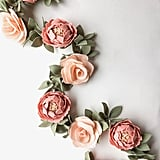 Peony and Rose Felt Flower Garland