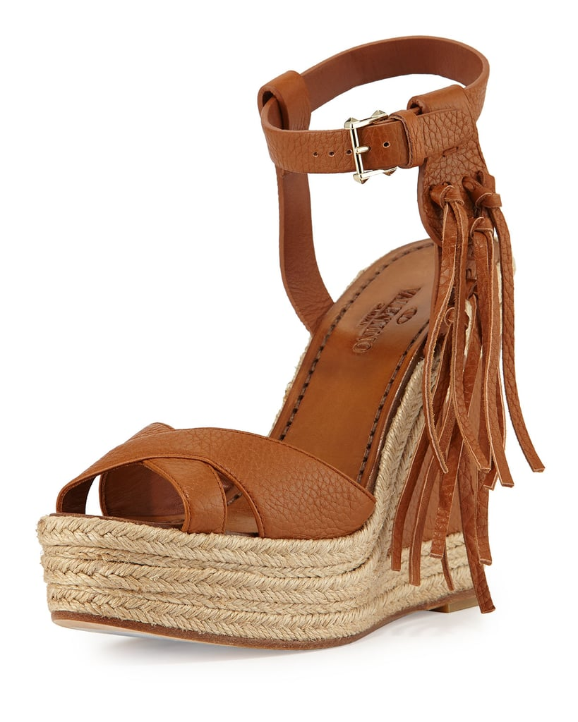 Valentino Leather Fringe Espadrille Wedge