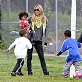 Heidi Klum with sons Henry and Johan, baby daughter Lou, and eldest daughter Leni (not pictured).