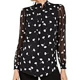 Anne Klein Printed Semi-Sheer Sleeve Top