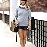 This style setter knows how to balance out an embellished-collar sweater and leather shorts with its laid-back complement. One word: sneakers.