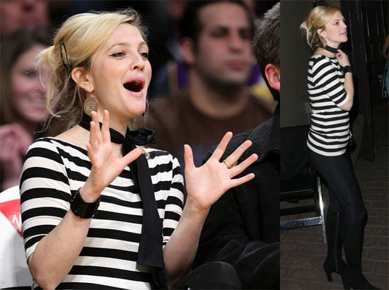 Drew Barrymore at Lakers Game