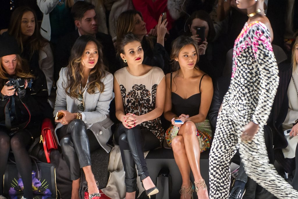 Aimee Song, Victoria Justice and Jamie Chung took in Mara Hoffman's designs from the front row.
