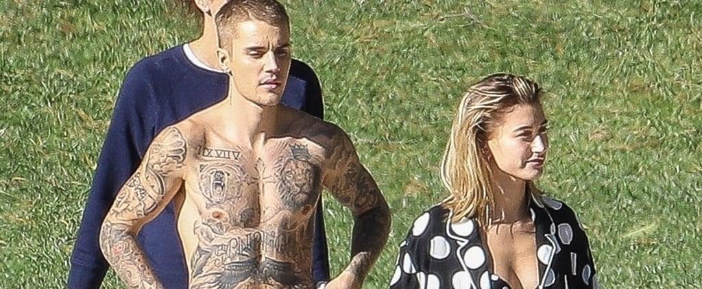 Hailey Baldwin in a Polka-Dot Bikini With Justin Bieber