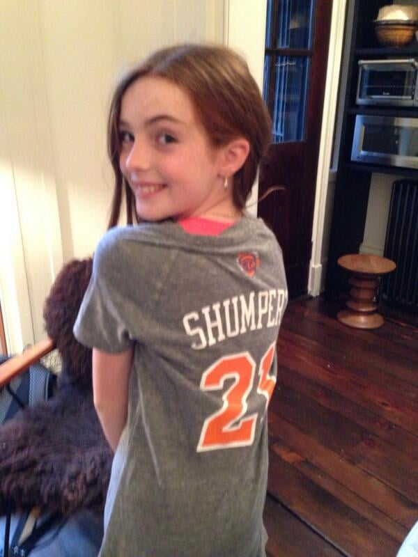 Julianne Moore's daughter, Liv, showed off her support for the New York Knicks. Source: Twitter user _juliannemoore