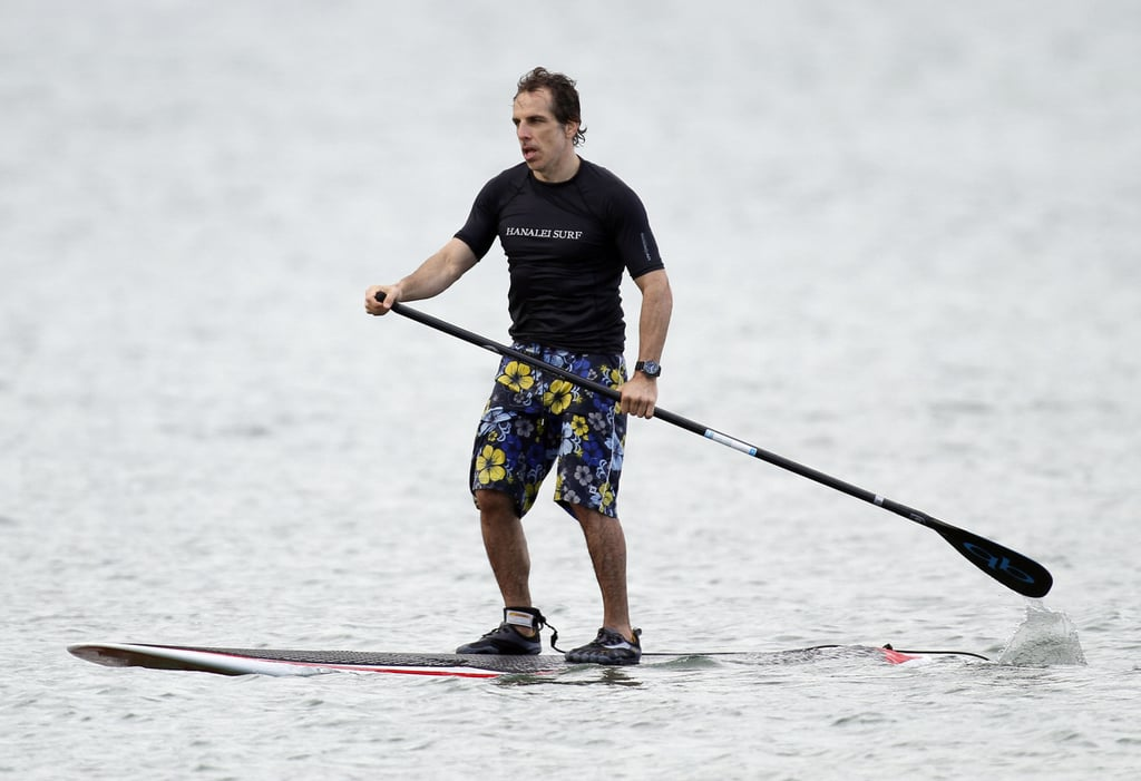 Ben Stiller brought a paddle out into the water.