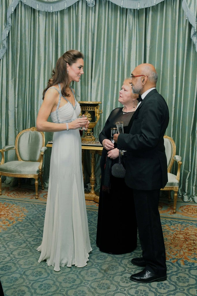 For her first solo appearance in October 2011, Kate donned a Grecian-inspired Amanda Wakeley gown.