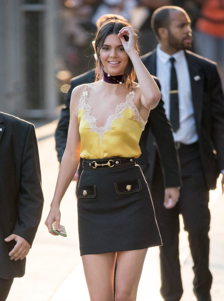 Kendall Jenner's Yellow Lingerie Top August 2016
