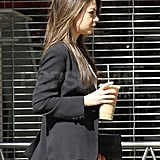 Best-Dressed Mila Stops For Coffee in Style