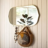 Brass Framed Mirror With Hooks