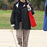 Reese Witherspoon gave a smile on her way to watch her son Deacon Phillippe's soccer game.