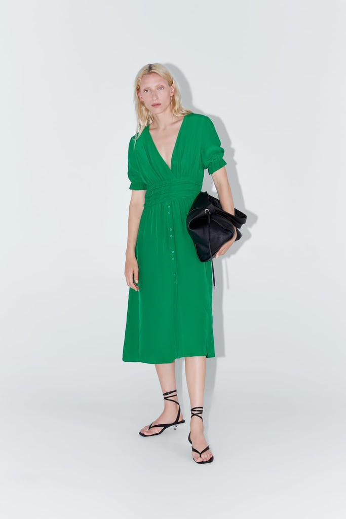 b4db99b7 Buttoned Draped Dress | Best Summer Dresses at Zara | POPSUGAR ...