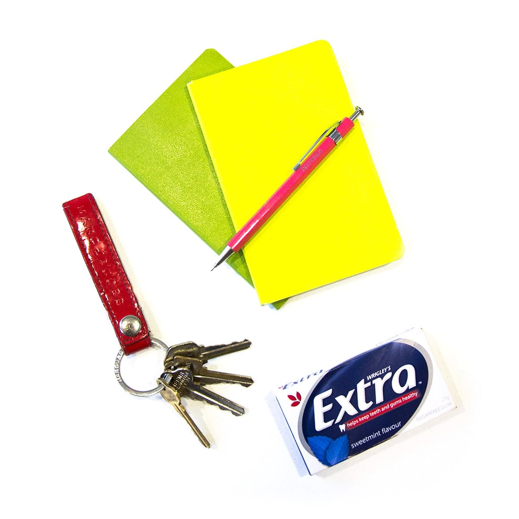 I'm a little old school and prefer to hand-write my to-do lists, and these cheery Moleskin notebooks brighten the task. I bought this Marc by Marc Jacobs key ring in NYC aaages ago, but it's big, and red, and easy to grab amongst the inevitable bottom-of-the-bag mess.