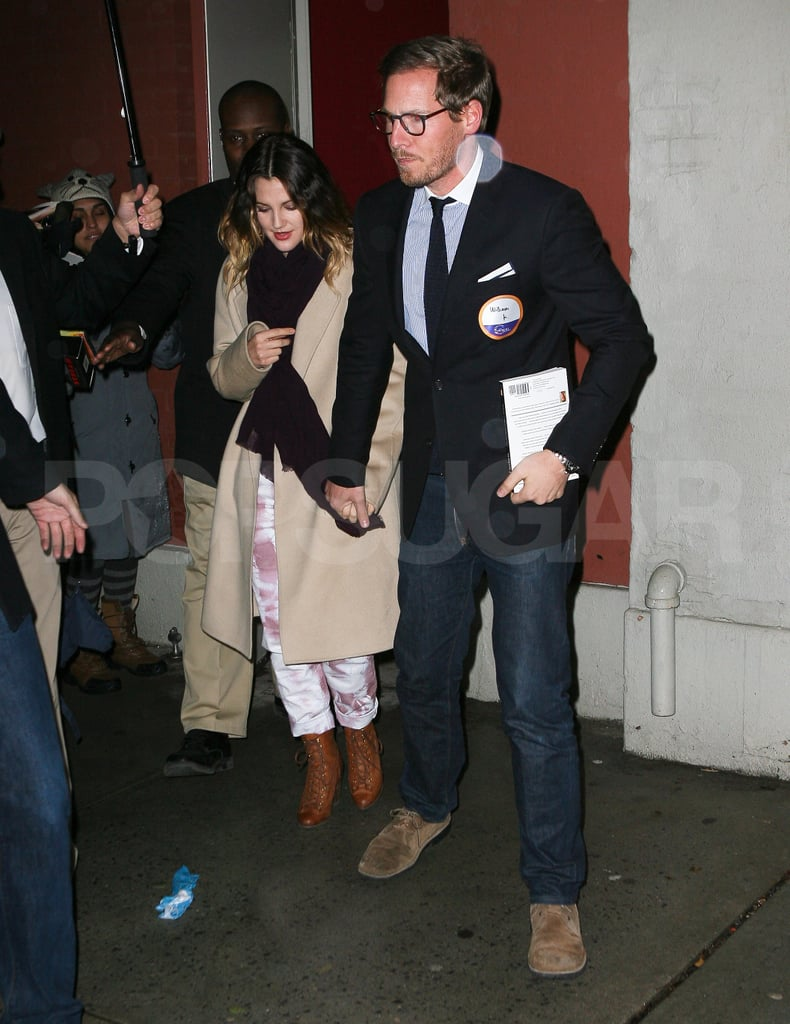 Drew Barrymore amd fiancé Will Kopelman headed to dinner at Rao's in Harlem.