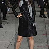 Katie Holmes posed for photographers outside The Late Show studios.