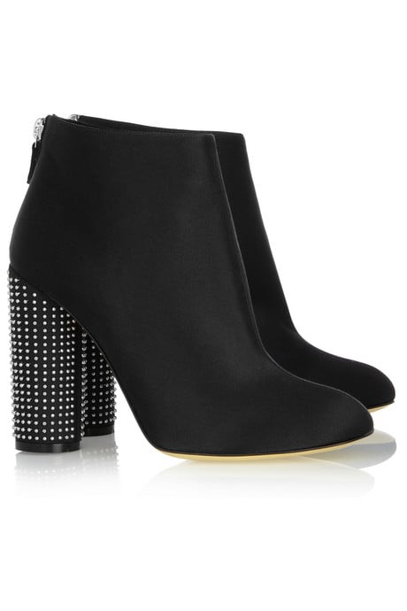 When you don't feel like showing your feet, these satin studded booties will garner just as much attention.  Stella McCartney Stud-Heeled Satin Ankle Boots ($975)