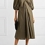 GANNI Metallic Checked Seersucker Midi Dress ($346.19)
