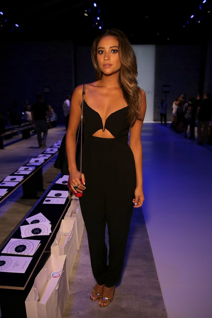Shay Mitchell revealed her cleavage in a flattering number at the Zimmermann fashion show on Friday.