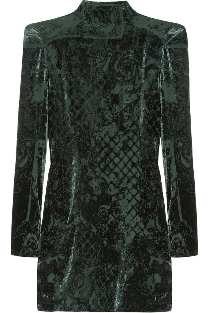 Want to make a statement? The Devoré-velvet minidress ($1,671, originally $5,570) in deep green, with its embossed pattern, will sure do the trick.