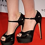 Rooney Mara wore satin Brian Atwood platforms.