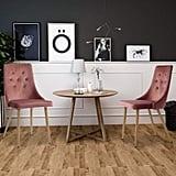 GreenForest Velvet Dining Chairs Set