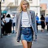 A denim miniskirt feels so elevated with a white t-shirt and blazer.