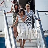 FLOTUS; her mom, Marian Shields Robinson; and Malia and Sasha Obama touched down at Torrejon Air Force Base in Madrid, Spain, on Wednesday during the last part of their tour.
