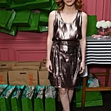 Jessica Chastain showed off a very chic play on metallics while celebrating women in film with Kate Spade.