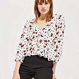 Topshop Cherry Spot Print Blouse