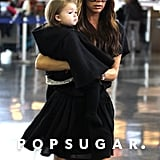 Victoria Beckham took Harper Beckham to the airport.