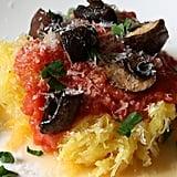 Spaghetti Squash With Tomato Sauce and Roasted Mushrooms