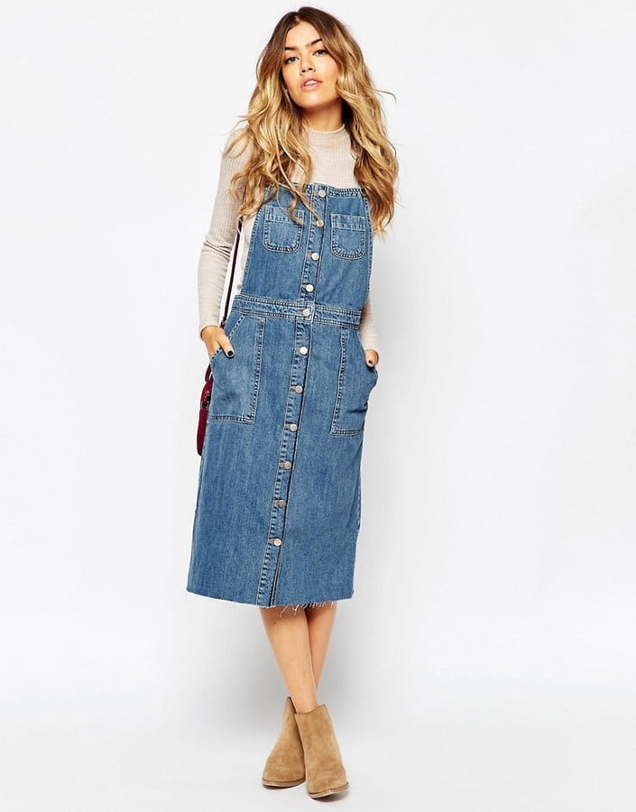 ASOS Denim Midi Pinafore Dress With Raw Hem | Long Dresses ...