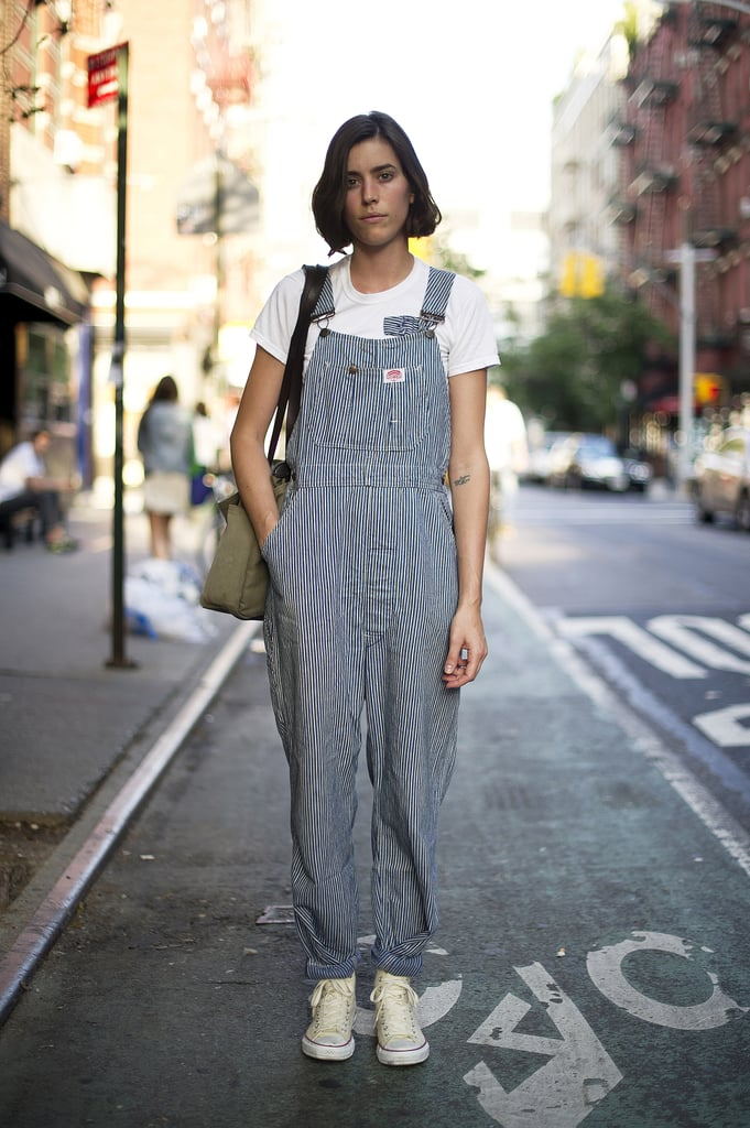 We're loving the look of these overalls and easy kicks — a little more playful than your average denim.