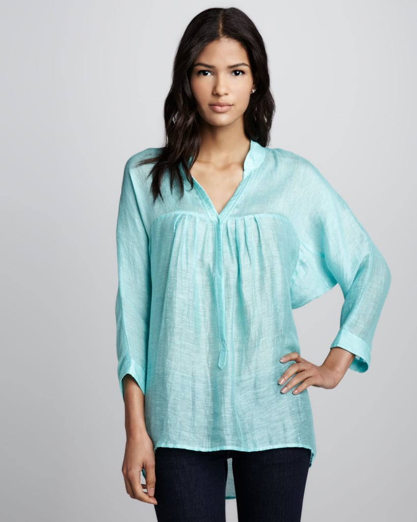 We love the effortless silhouette and turquoise hue of this Plenty loose gauze blouse ($158).