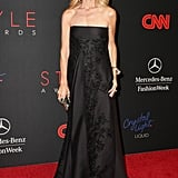 Rachel Zoe covered her baby bump in a beautiful black strapless gown at the 2013 Style Awards.