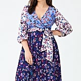 1901 Colorblock Floral Faux Wrap Dress