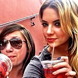 Ashley Benson sported a multicolored manicure while out to coffee with a friend. Source: Instagram user itsashbenzo