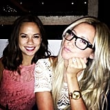 Ashley Tisdale wore geeky specs while grabbing dinner with a gal pal. Source: Instagram user ashleytis