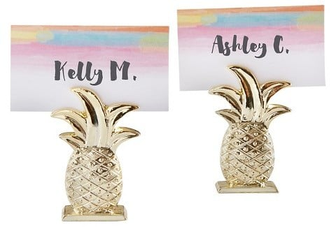 Gold Pineapple Place Card Holder ($19 set of 12)