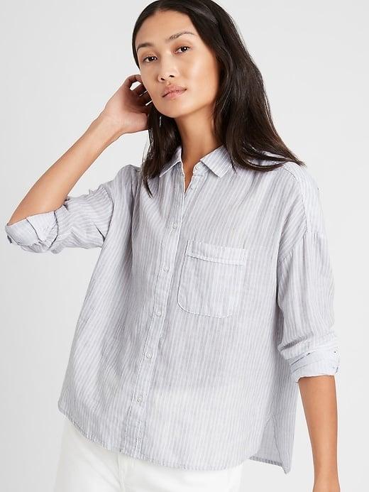 Banana Republic Stripe High-Low Shirt