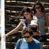 Eva Longoria and Penelope Cruz chatted during a visit to the beach.