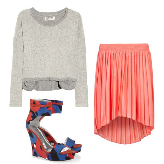 Let's be honest: while holiday dressing is fun, this particular weekend is more about BBQs and day-drinking than it is about getting ultraformal. Thus, we've found a happy outfit medium in this sporty sweatshirt-meets-girlie pleated skirt combo. For an extra boost of polish, wear a floral-print wedge. Get the Look:   TEXTILE Elizabeth and James Leah Cotton and Wool-Blend Terry Sweatshirt ($165)  Topshop Pleated Dip Hem Skirt ($56)  DKNY Runway Corinne Ankle-Strap Wedge ($275)