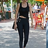 That isn't to say that these leggings don't also work for their true purpose: as fitness apparel. Gigi was seen wearing them as such with some running sneakers.